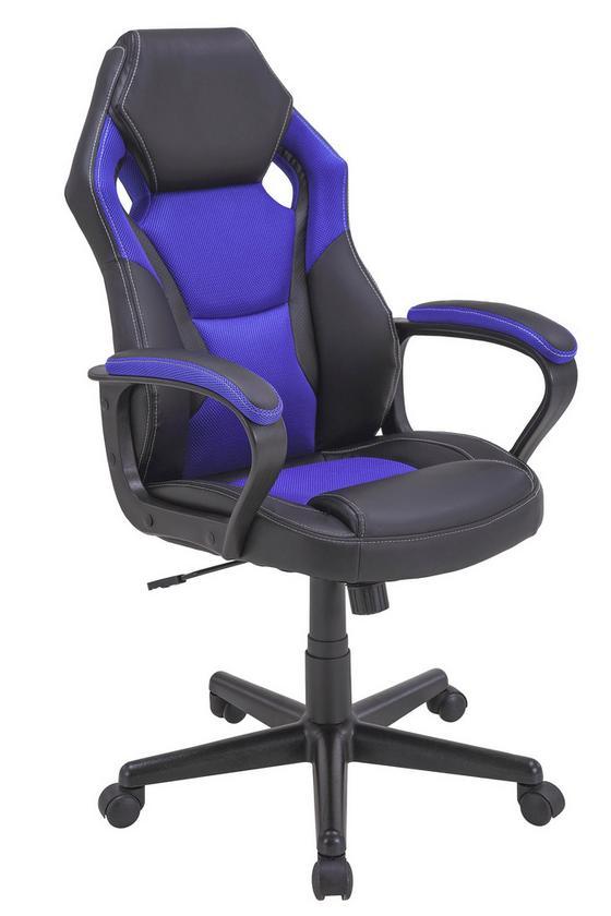 Kancelářské Křeslo Peter - modrá/černá, Moderní, kov/textil (60/104-114/64cm)