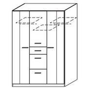 Drehtürenschrank mit Schubladen 136cm Point, Weiß - Weiß/Sonoma Eiche, MODERN, Holzwerkstoff (136/197/54cm) - MID.YOU