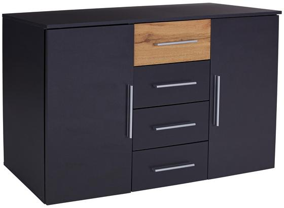 Komoda Landeck - farby dubu/grafitová, Moderný, kompozitné drevo (140/81/42cm)