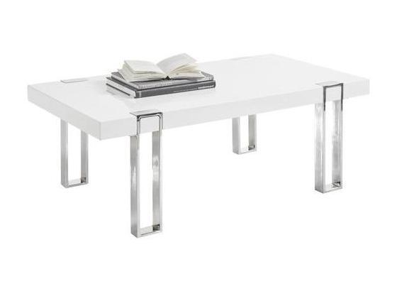 Couchtisch Austin B: 110 cm Weiß - Silberfarben/Weiß, Design, Holzwerkstoff/Metall (110/40/60cm) - Livetastic
