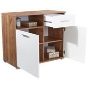 Komoda Roma2, 1 Lade, 2 Tüen - bílá/barvy dubu, Moderní, dřevěný materiál (100/80/45cm)