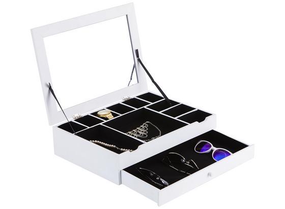 Zásuvka Na Šperky Mia 2 - biela, Moderný, kompozitné drevo/sklo (40/30/10cm)