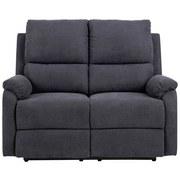 Zweisitzer-Sofa mit Relaxfunktion Sabia, Webstoff - Dunkelgrau/Schwarz, Basics, Textil/Metall (135/101/90cm)