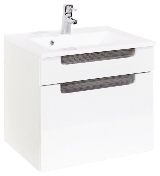 Waschtischkombi Siena 60cm Weiß/eiche - Weiß, MODERN, Holzwerkstoff/Kunststoff (60/54/47cm)