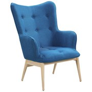 Relaxsessel B: 87 cm Blau - Blau/Naturfarben, Basics, Textil (87/98/71cm)