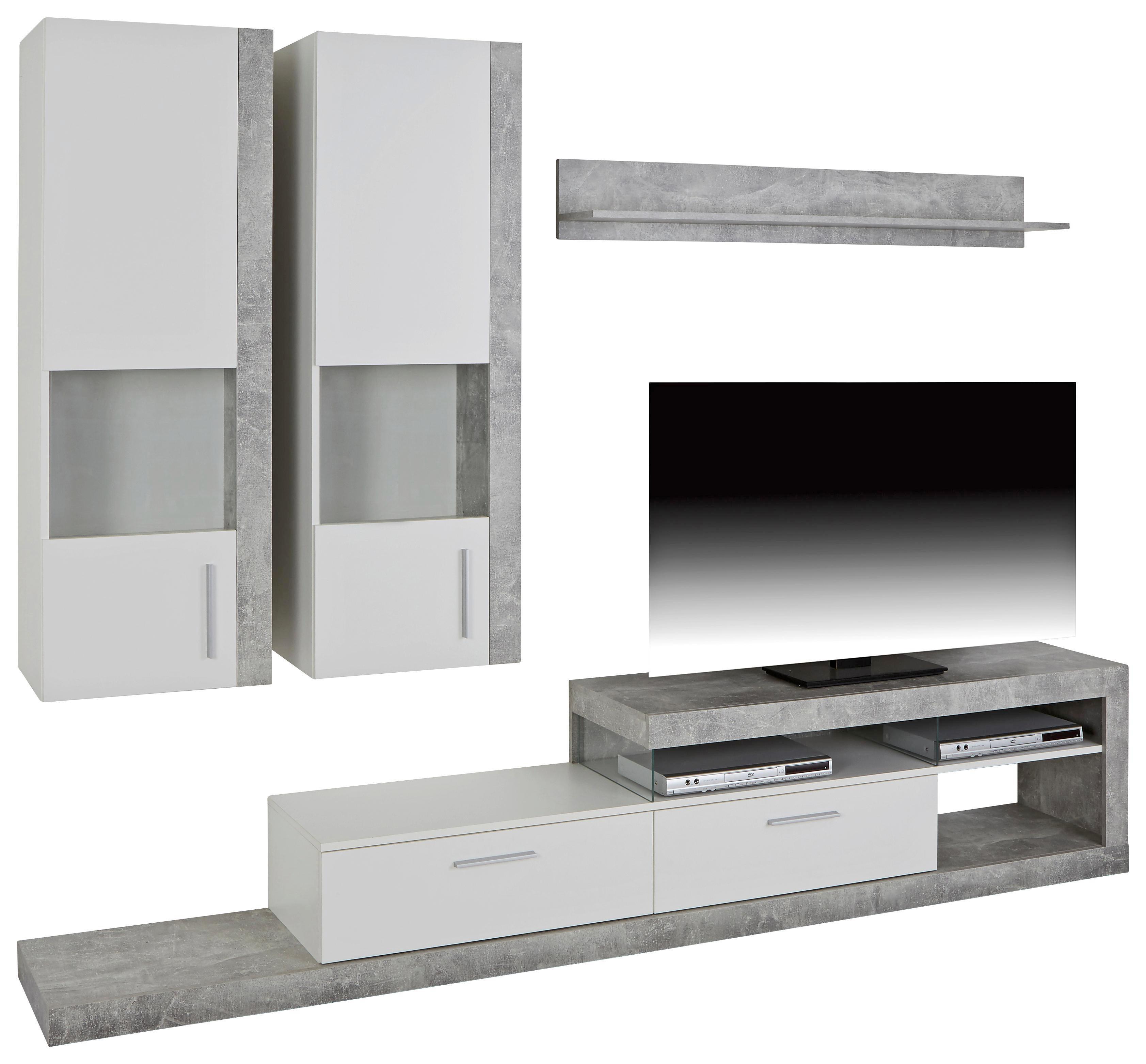 Vitrinkombináció Iguan - világosszürke/fehér, modern, faanyagok (260/190/42cm)