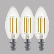 LED-Leuchtmittel 3er Pack E14, 470 lm - Klar, MODERN, Glas (3,7/10cm)