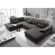 Wohnlandschaft in U-Form Wayne ca. 240x340x188 cm - Dunkelgrau/Silberfarben, KONVENTIONELL, Holzwerkstoff/Textil (240/340/188cm) - Carryhome