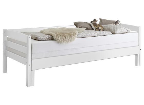 Ausziehbett Echtholz inkl. Rollrost 90x200 Emilia, Weiß - Weiß, KONVENTIONELL, Holz (90/200cm)
