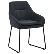 Stuhl Lissabon B: 56 cm Dunkelgrau - Dunkelgrau/Schwarz, MODERN, Textil/Metall (56/82/58cm) - Luca Bessoni