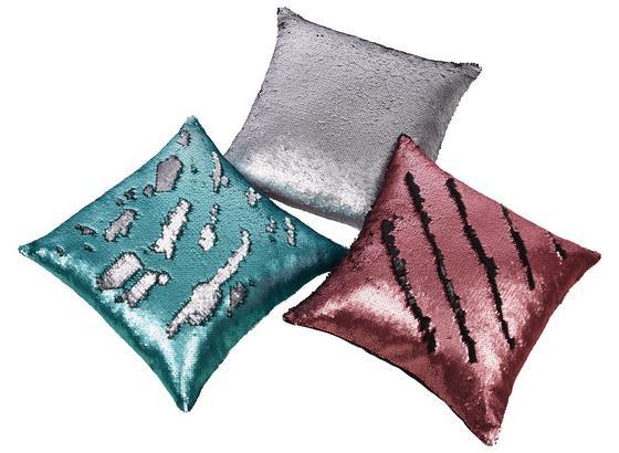 Zierkissen Glamour - Türkis/Silberfarben, MODERN, Textil (40/40cm) - Luca Bessoni