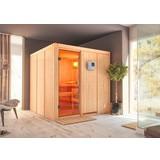 Sauna Cannes mit Ext. Steuerung 196x198x196 cm - Naturfarben, MODERN, Holz (196/198/196cm) - Karibu