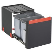 Abfallsammler Cube40  3fach - Anthrazit/Grau, Kunststoff (33,5/40,7/34,8cm)