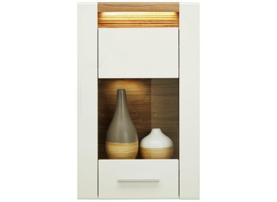Závěsná Vitrína Leonardo - bílá/barvy dubu, Moderní, kompozitní dřevo/sklo (60/98,5/30cm) - Modern Living