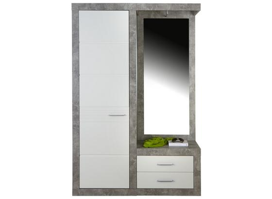 Garderobe Malta - Weiß/Grau, MODERN, Holzwerkstoff (130/196,8/36cm)