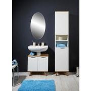 Hochschrank Turin B: 40cm, Weiß + Eiche Dekor - Eichefarben/Weiß, MODERN, Holzwerkstoff (40/195/30cm)