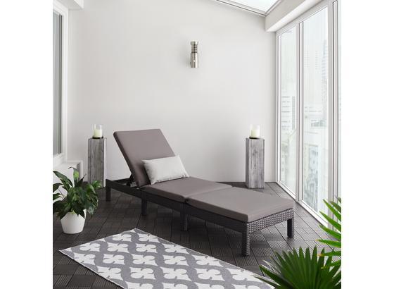 Lehátko Sarah - čierna/tmavosivá, Moderný, kov/textil (60/28/198cm) - Modern Living