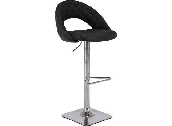 Barová Židle Martin - černá/barvy chromu, Moderní, kov/textil (55/89-110/53cm)