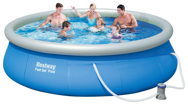 Bestway Schwimmbecken Fast Set Pool 57321   Blau/Weiß, Kunststoff (396/84cm