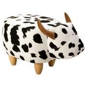 Kinderhocker Kuh B: 63cm Schwarz/Weiß - Schwarz/Naturfarben, KONVENTIONELL, Holz/Textil (63/34/36cm) - MID.YOU