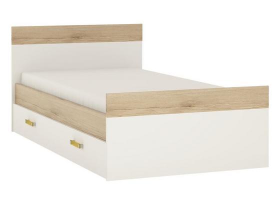 Postel Amazon - bílá/barvy dubu, kompozitní dřevo (120/200cm)