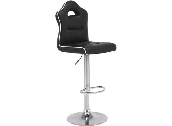 Barová Židle Linz - bílá/černá, Moderní, kov/textil (41,5/106-127/54cm)