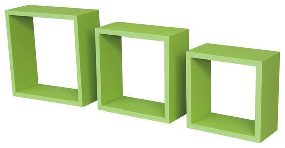 Nástenný Regál Simple 3 - zelená, Moderný, umelá hmota/drevený materiál (30/30/12cm)