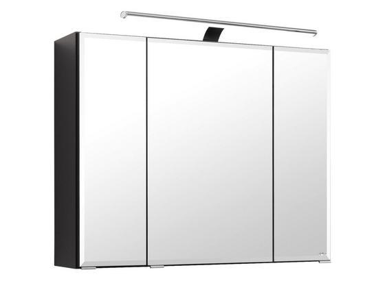 Spiegelschrank Belluno B:80 cm Graphit - Graphitfarben, Basics, Glas/Holzwerkstoff (80/64/20cm)