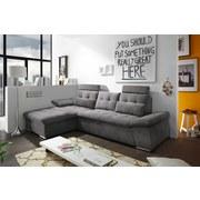 Ecksofa mit Schlaffunktion Nalo Longchair, Webstoff - Silberfarben/Grau, KONVENTIONELL, Holzwerkstoff/Textil (170/268cm) - Carryhome