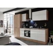 Küchenblock Paul 310cm Eiche Dekor/Weiß - Eichefarben/Weiß, MODERN, Holzwerkstoff (310/211/60cm) - Xora