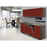 Küchenblock Economy 195 cm Rot - Eichefarben/Rot, KONVENTIONELL, Holzwerkstoff (195/200/55cm) - MID.YOU