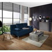 Boxspringsofa Ines B: 203 cm - Chromfarben/Blau, MODERN, Holz/Textil (203/96/102cm) - Luca Bessoni