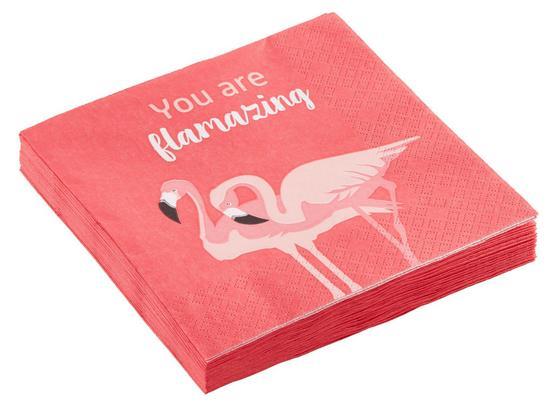 Ubrousek Flamingo Couple - bílá/růžová, papír (33/33cm) - Mömax modern living