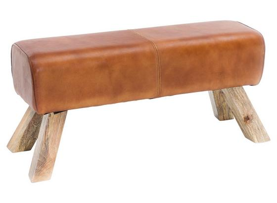 Hocker Leder B: 90 cm - Braun, Natur, Leder (90/43/30cm) - Livetastic