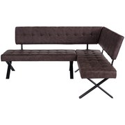 Eckbank Donna Li - Anthrazit/Braun, MODERN, Textil/Metall (200/91/150cm)