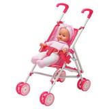 Spielpuppe Dolly mit Klappbarem Puppenwagen - Rosa/Weiß, Kunststoff/Textil