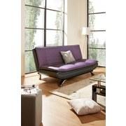 Schlafsofa Bari - Edelstahlfarben/Violett, Basics, Textil/Metall (190/90/102cm) - Ombra