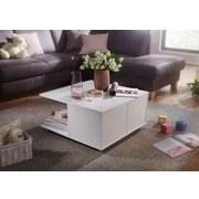 Couchtisch Holz mit Laden + Fächer Auf Rollen, Weiß - Weiß, MODERN, Holzwerkstoff/Kunststoff (70/70/36,5cm) - Livetastic