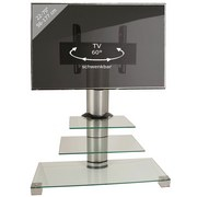TV-Rack Amalo Maxi B: 100 cm - Klar/Alufarben, KONVENTIONELL, Glas (100/107/44cm) - MID.YOU