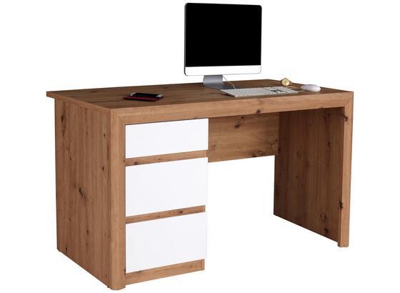 Psací Stůl Kashmir New Kab01 - bílá/barvy dubu, Moderní, kompozitní dřevo (152/78/60cm) - James Wood