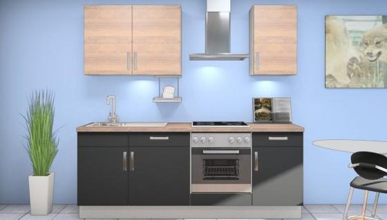 Küchenblock Paula 220 cm Weiß/Schwarz - Eichefarben/Schwarz, MODERN, Holzwerkstoff (220cm) - Vertico