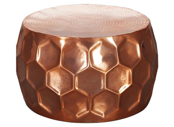 Couchtisch Rund Honigwabenform Honeycomb, Kupferfarben - Kupferfarben, LIFESTYLE, Metall (60/60/36cm) - Livetastic