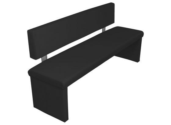 Sitzbank Charisse  B: ca. 160cm Schwarz - Schwarz, MODERN, Textil/Metall (160/83/54cm) - Livetastic