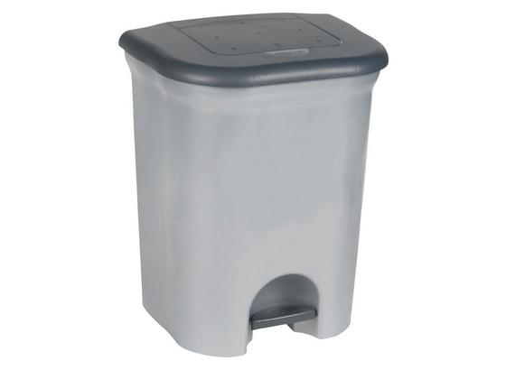 Abfallsammler 2x 10 Liter - Silberfarben/Schwarz, KONVENTIONELL, Kunststoff (37.5/46/29.5cm)