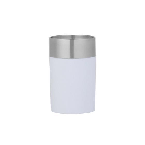 Zahnputzbecher Lena - Weiß, MODERN, Kunststoff/Metall (7/11cm)