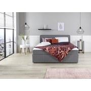 Boxbett mit Matratze & Topper 140x200cm Carrol, Grau - Blau/Schwarz, KONVENTIONELL, Holz/Textil (140/200cm)