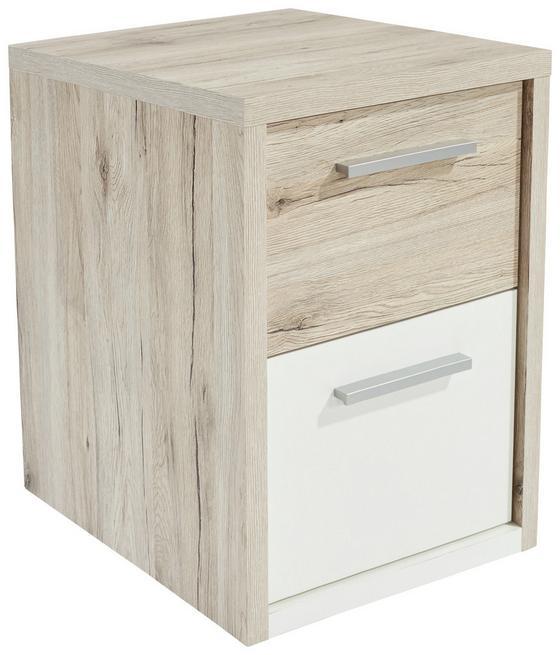 Éjjeliszekrény Julia - Tölgyfa/Fehér, konvencionális, Faalapú anyag (45/57/42cm)