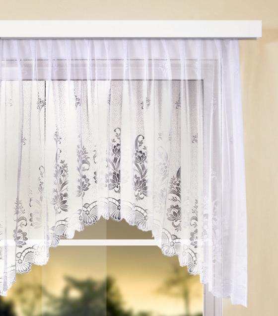 Virágos Vitrázs Függöny Andrea - Fehér, konvencionális, Textil (300/145cm) - Ombra
