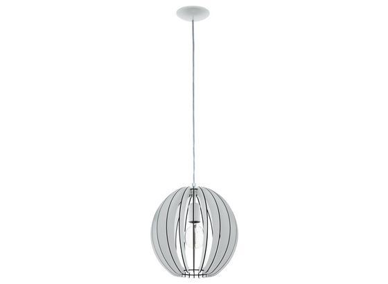 Hängeleuchte Cossano Ø 30 cm - Weiß, MODERN, Holz/Metall (30/130cm)