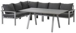 Loungegarnitur 4-Tlg Bari Aus Alu und Polywood mit Kissen - Hellgrau, MODERN, Kunststoff/Textil (199/259cm) - Beldano